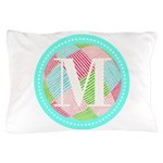 Personalizable Monogram Teal Pink Pillow Case