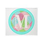 Personalizable Monogram Teal Pink Throw Blanket