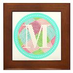 Personalizable Monogram Teal Pink Framed Tile