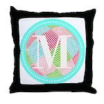 Personalizable Monogram Teal Pink Throw Pillow