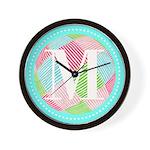 Personalizable Monogram Teal Pink Wall Clock