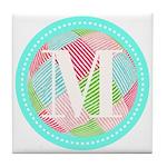 Personalizable Monogram Teal Pink Tile Coaster