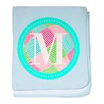 Personalizable Monogram Teal Pink baby blanket