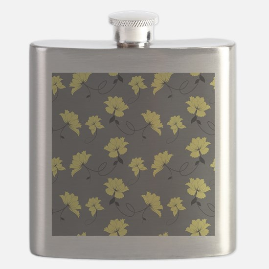 Yellow Flowers With Gray Background Flask