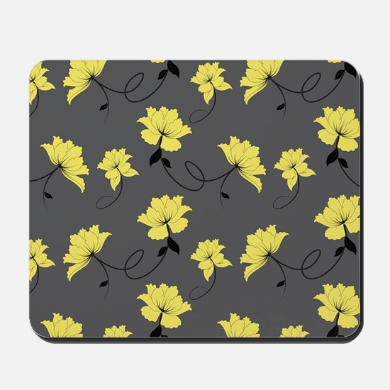 Yellow Flowers With Gray Background Mousepad