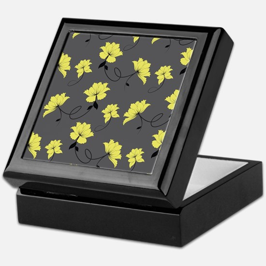 Yellow Flowers With Gray Background Keepsake Box