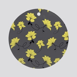 Yellow Flowers With Gray Backgrou Ornament (Round)