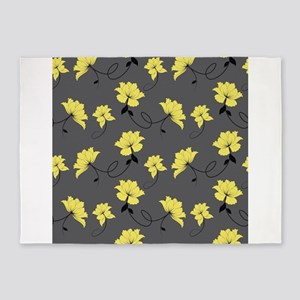 Yellow Flowers With Gray Background 5'x7'Area Rug