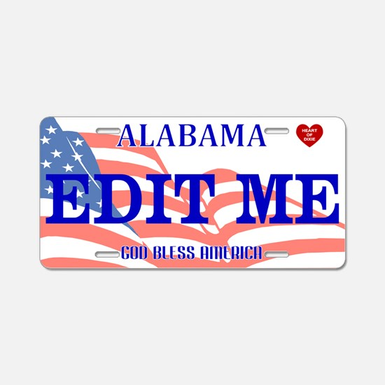 Alabama - God Bless America Aluminum License Plate