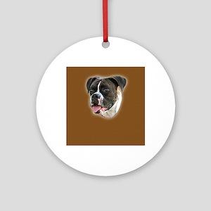 Brindle Boxer Portrait Round Ornament