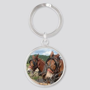 Two Mules for Sister Sue Round Keychain
