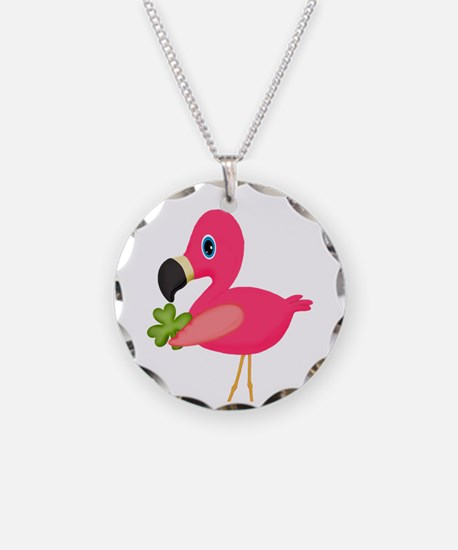 Pink Flamingo Shamrock Necklace