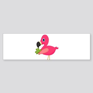 Pink Flamingo Shamrock Bumper Sticker