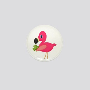 Pink Flamingo Shamrock Mini Button