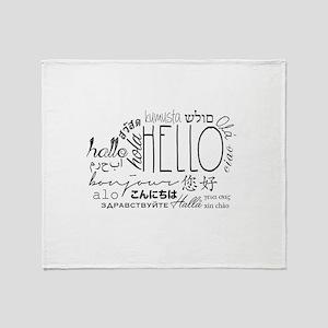 Hello Cloud Black/White Throw Blanket