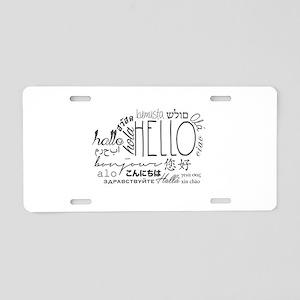 Hello Cloud Black/White Aluminum License Plate