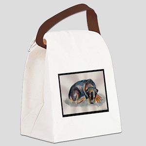 Sleeping Rottweiler Canvas Lunch Bag