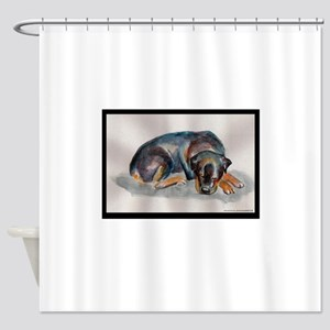 Sleeping Rottweiler Shower Curtain