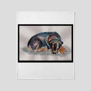 Sleeping Rottweiler Throw Blanket