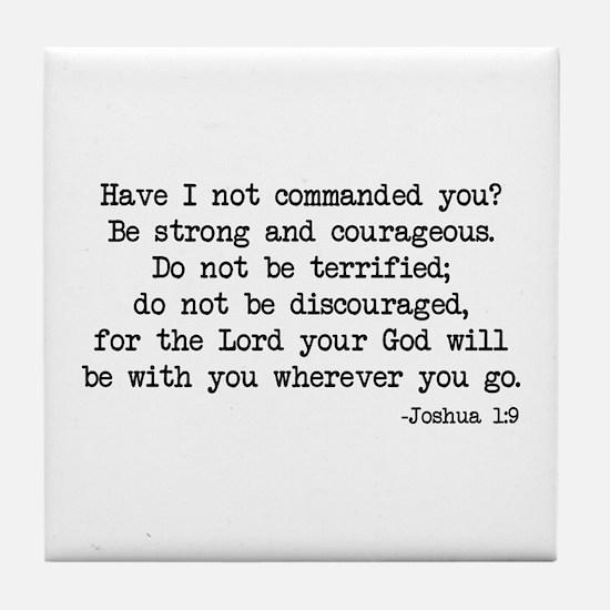 Joshua 1:9 Tile Coaster