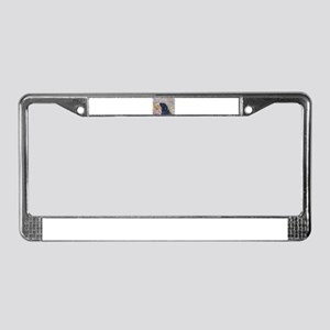 Black Labrador in the garden License Plate Frame