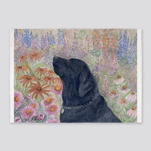 Black Labrador in the garden 5'x7'Area Rug