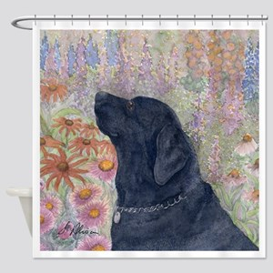 Black Labrador in the garden Shower Curtain