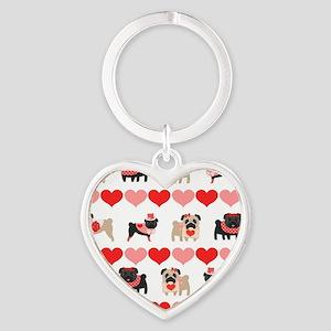Pug Valentines and Hearts Heart Keychain