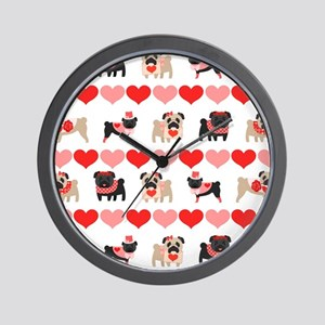 Pug Valentines and Hearts Wall Clock