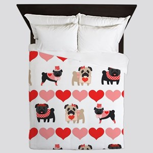 Pug Valentines and Hearts Queen Duvet