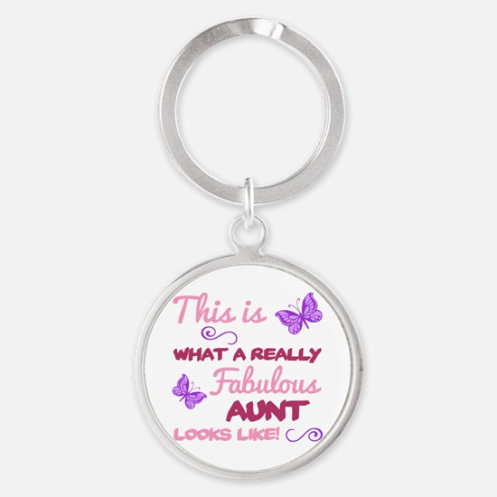 Cute Aunt butterfly Round Keychain