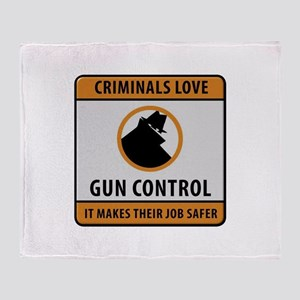 Criminals Love Gun Control Throw Blanket