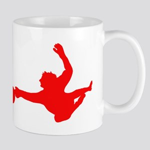 Red Soccer Goalie Silhouette Mugs