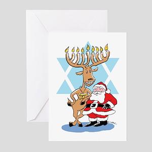Funny hanukkah greeting cards cafepress jews 4 santa holiday greeting cards m4hsunfo