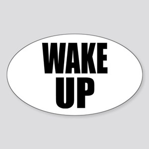 WAKE UP Message Oval Sticker