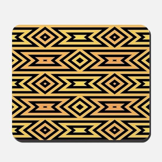 Yellow/Orange/Black Tribal Pattern Mousepad
