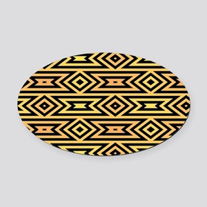 Yellow/Orange/Black Tribal Pattern Oval Car Magnet