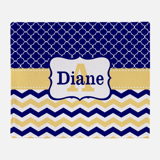 Navy Blue Yellow Quatrefoil Chevron Personalized T
