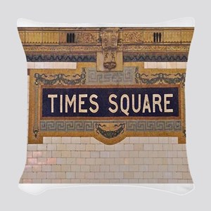 Times Square Subway Station Woven Throw Pillow