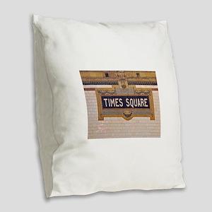 Times Square Subway Station Burlap Throw Pillow