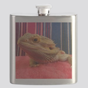 bearded dragon on red Flask