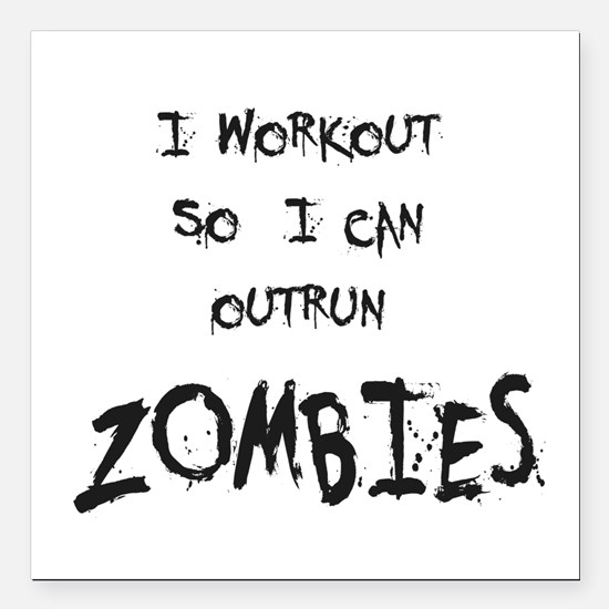 "Outrun Zombies 2 Square Car Magnet 3"" x 3"""