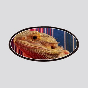 bearded dragon on red Patches