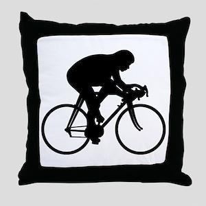 Bicycle Rider Throw Pillow