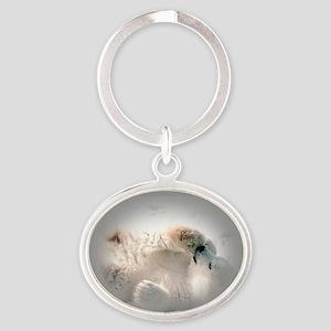 Baby polar bear Oval Keychain