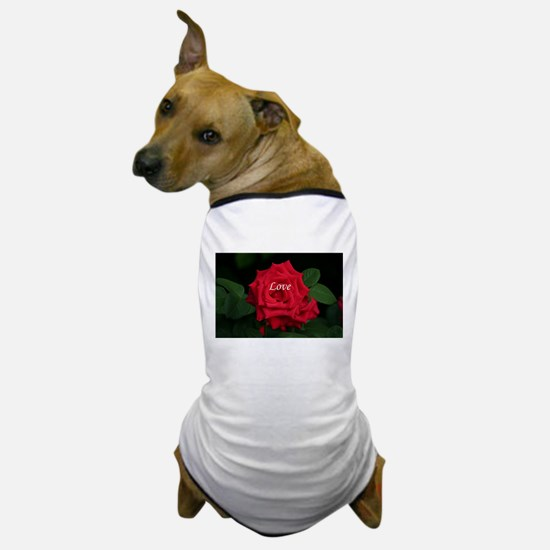 Love Romantic Red Rose for Valentine, Dog T-Shirt