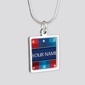 Patriotic Plaid Stars Silver Square Necklace