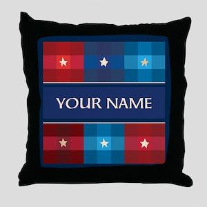 Patriotic Plaid Stars Throw Pillow