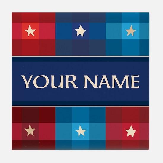 Patriotic Plaid Stars Tile Coaster