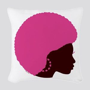 Pink_afro Woven Throw Pillow